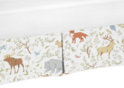 Blue, Grey and White Animal Print Crib Bed Skirt Dust Ruffle for Woodland Toile Boys or Girls Baby Bedding Sets