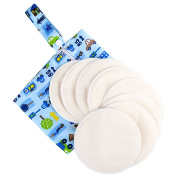 Nursing Pads - Reusable Breast Pads Bra Pads - Washable Organic Absorbent Cotton - Hypoallergenic Breastfeeding - 4 Pairs With Waterproof Layer Bag