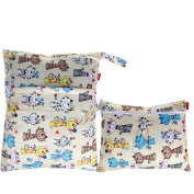Damero 2pcs Pack Travel Baby Wet and Dry Cloth Nappy Organiser Bag, Cats