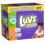 Luvs Ultra Size 3 186 Count NightLock Ultra absorbent Leakguards Nappies Lock wetness Away Wetness even overnight Leak Barrier