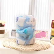 Baby Blankets Coral Fleece Kids' Blanket Gift with Cartoon Elephant Blue for Boy 100cm X 80cm
