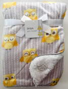 Sherpa Baby Blanket Reversible, 80cm x 100cm , yellow owls design