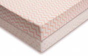 Pack N Play Portable Crib Sheet Set 100% Jersey Cotton for Baby Girl by Ely's & Co. - Pink Chevron and Polka Dot