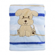 Snugly Baby Brand Fleece Baby Puppy Blanket. NWT. Embroidered. Baby Blue