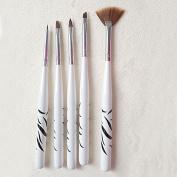 Constructan(TM) 5Pcs/Set Zebra Nail Art Brush Set Designs Painting Drawing Pen Professional Salon Manicure Tools