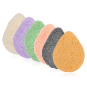 Constructan(TM) 6Pcs Natural Konjac Facial Cleansing Sponge with Activated Exfoliating Charcoal Body Face Deep Clean Beauty Tool for All Kinds