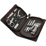 Constructan(TM) 9 in 1 Stainless Nail Clipper Nipper Cutter Pedicure Manicure Set Kit Case Bag HH0166