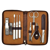 Constructan(TM) 9 IN1 Luxurious Manicure Set Stainless Nail Clippers Pedicure Kit with Leather Case HH0355