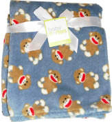 Super Soft 80cm x 90cm Sock Monkey Fleece Blanket - Blue Grey