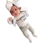 Inkach 1Set Infant Baby Boys Girls Letter Print T-shirt Tops+Pants Outfits Clothes