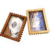 CECII 1Pcs Stamp shape Wood Picture Frame,Desktop Photo Frame,Home Decor For 3.7×13cm image
