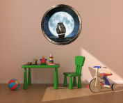 90cm Porthole Sea Window Ocean View PIRATE SHIP at NIGHT #1 PEWTER Wall Sticker Kids Decal Baby Room Home Art Décor Den Mural Man Cave Graphic LARGE