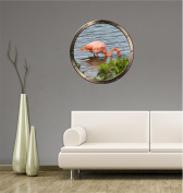 90cm Porthole Ship Window Nature View PINK FLAMINGO in WATER #1 PEWTER Wall Sticker Kids Decal Baby Room Home Art Décor Den Mural Man Cave Graphic LARGE