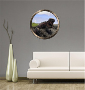 90cm Porthole Ship Sea Window Nature View GALAPAGOS IGUANA #1 PEWTER Wall Sticker Kids Decal Baby Room Home Art Décor Den Mural Man Cave Graphic LARGE
