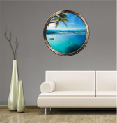 90cm Porthole Ship Sea Window Ocean View TROPICAL UNDER WATER SPLIT #1 PEWTER Wall Sticker Kids Decal Baby Room Home Art Décor Den Mural Man Cave Graphic LARGE