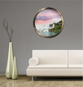 90cm Porthole Ship Window Ocean Sea View NIAGRA FALLS WATERFALL SUNSET #1 PEWTER Wall Sticker Kids Decal Baby Room Home Art Décor Den Mural Man Cave Graphic LARGE