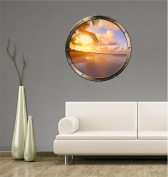 90cm Porthole Ship Window Ocean Sea View TROPICAL BEACH SUNSET #1 PEWTER Wall Sticker Kids Decal Baby Room Home Art Décor Den Man Cave Graphic LARGE