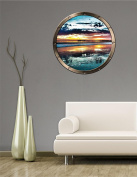 90cm Porthole Ship Window Ocean Sea View OCEAN PIER SUNSET #1 PEWTER Wall Sticker Kids Decal Baby Room Home Art Décor Den Man Cave Graphic LARGE