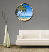 90cm Porthole Ship Window Ocean Sea View TROPICAL BEACH DAY #1 PEWTER Wall Sticker Kids Decal Baby Room Home Art Décor Den Man Cave Graphic LARGE