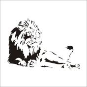Male lion king of the jungle safari wall stickers children's bedroom, living room decoration stickers vinyl removable devices - Black