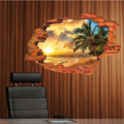 3D Beach Sunshine Wall Sticker Decal Art Decor Vinyl Home Room Window Door Mural