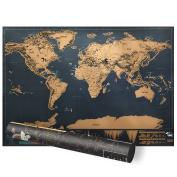 Scratch World Map, Proboths Portable Travel World Mini Scratch Map Luxury Black World Wall Map