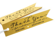 Summer-Ray.com 50pcs Personalised Mini Pennant Flag Shimmered Gold Wedding Favour Gift Tags Thank You for Celebrating with Us