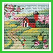 CaptainCrafts Hots Cross Stitch Kits Patterns Embroidery Kit - The Suburban Four Seasons (Spring)