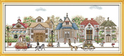 CaptainCrafts Hots Cross Stitch Kits Patterns Embroidery Kit - Street View Villa