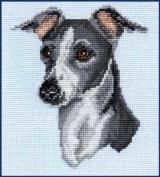 Italian Greyhound Counted Cross Stitch Kit - Grey