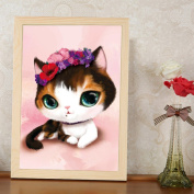 EXIU 5D DIY Round Diamond Full Embroidery Cartoon Cat Painting Cross Stitch Kits Gift