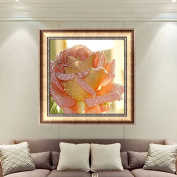 LAY'S 5D Round Diamond Painting Flower Pattern Cross Stitch Embroidery Kit for Home Room Wall Decor