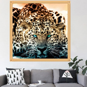 LAY'S 5D Diamond Painting Leopard DIY Cross Stitch Embroidery Kit for Home Wall Decor