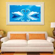 55x35cm 5D DIY Diamond Painting Swan Kiss Rhinestone Cross-stitch Kit Home Decoration -Locsto