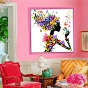 25x25cm 5D Beautiful Girl with Butterfly DIY Diamond Painting Rhinestone Cross-stitch Kit -Locsto