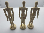 Janrax Set of 3 - 8 inch Artists Figure - 20cm Male Manikin Wooden Art Mannequin
