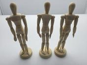 Janrax Set of 3 - 8 inch Artists Figure - 20cm Male Manikin Wooden Art Mannequin