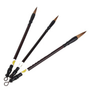 Yiguo 3pcs Excellent Wolf Hair Chinese Caligraphy Kanji Japanese Sumi Drawing Brush L / M / S Size