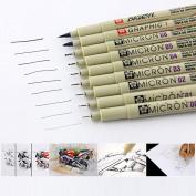 Sakura 9 Pcs Pigment Liner Pigma Micron Ink Fine Line Pen Set 005 01 02 03 04 05 08 1 Brush, Black, Made in Japan