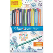 Paper Mate Flair Felt Tip Marker Pen, Assorted Tropical Ink 16pk