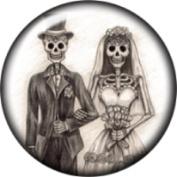 Snap button Halloween Skeleton Wedding Couple 18mm Cabochon chunk charm