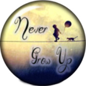 Snap button Never Grow up 18mm Cabochon chunk charm