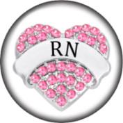 Snap button Registered Nurse RN 18mm Cabochon chunk charm Heart