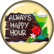 Snap button Always Happy Hour 18mm Cabochon chunk charm