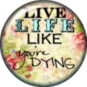 Snap button Live life like you're dying 18mm Cabochon chunk charm