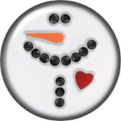 Snap button Love Snowman Heart 18mm Cabochon chunk charm