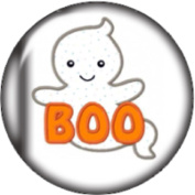Snap button Halloween Boo Ghost 18mm Cabochon chunk charm