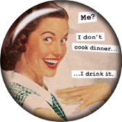 Snap button Sarcasm I don't cook dinner I drink it 18mm Cabochon chunk charm