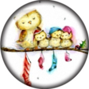 Snap button Owl Family Tree 18mm Cabochon chunk charm