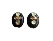 Set of Two Coloured , Kundan Studded Marble Oval shaped Button , 2 Holes